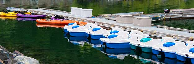 Boats for rent at the Wallowa Lake Marina
